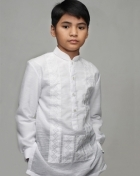 Boys' Barong White Textured Organza 100876 White