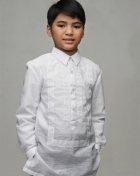 Boys' Barong White Textured Organza 100877 White